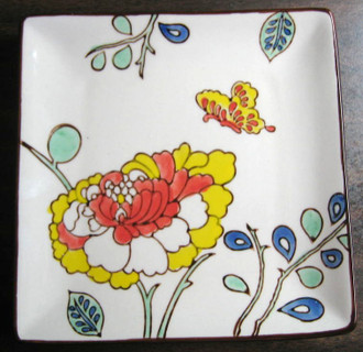 Mayabi Chinoiserie Lotus Butterfly Small Square Plate www.DecorativeDishes.net