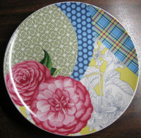 Pink Roses Blue Plaid Polka Dots Yellow Toile Green Geometric Plate