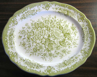 Sage Green White Toile Transferware Cabbage Roses Oval Platter www.DecorativeDishes.net