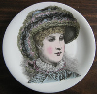 French Feather Victorian Hat Fashion Porcelain Plate Melle Agathe