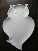 Whimsical White Owl Shaped Textured Platter Serving Dish