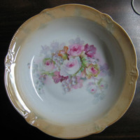 Beautiful German Roses Orange Lustre Porcelain Serving Bowl