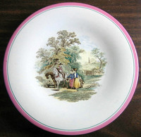 Antique 1870s English Women Horses Pink Edge Pottery Plate
