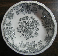 Black Grey Toile Butterfly Mum Poppy Bird Vintage Tiny Trinket Dish
