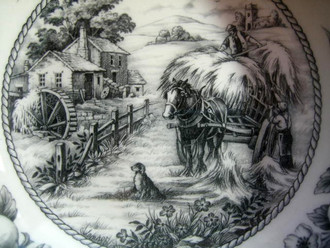Black Toile Transferware Horse Dog Fruit Bowl