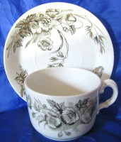OLD Shabby Dark Green Toile Gold Poppy Cup Saucer