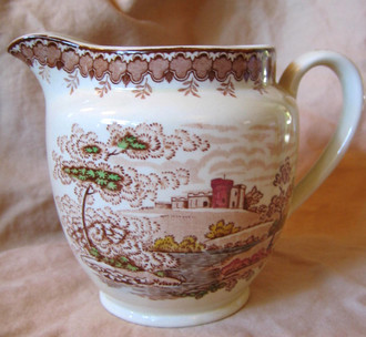 Decorative Pitcher - Brown Transferware Castle River Sky Hand Colored Vintage