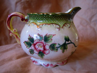 Decorative Pitcher - OLD Hand Painted Japan Bird Gold Scrolls Roses CUTE