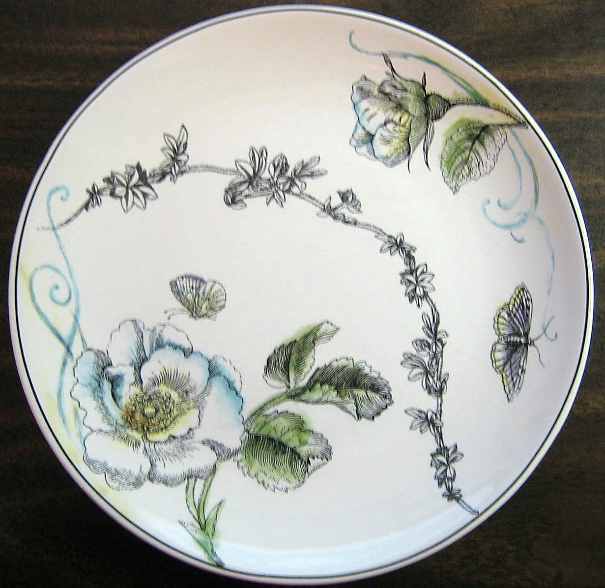 Decorative Plate Black White Butterfly Rose Colored