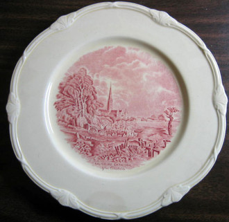 Red Pink Shabby OLD Toile River Horse Cart Plate L