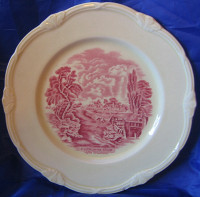 Red Pink OLD Shabby Toile River Bridge Plate M