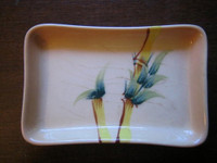 Vintage 50's Bamboo Hand Painted Trinket Dish