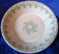 Antique Green Fern Garland Ironstone Trinket Dish M