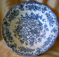 Decorative Bowl - Blue White Transferware Toile Roses Daisy Swirl