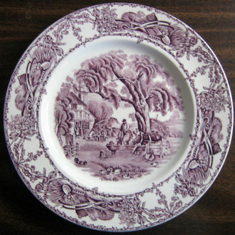 Purple Toile Transferware Inn Horses Chickens Plate M www.DecorativeDishes.net