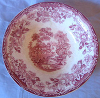 Shabby Red Pink Toile Chinoiserie Swan Roses Bowl