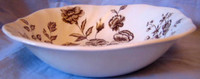 Chocolate Brown Toile Roses Carnation Vintage Square Bowl