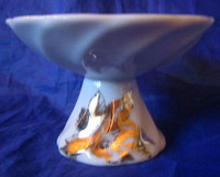Mini Shiny Gold Bird Porcelain Footed Dipping Trinket Dish b