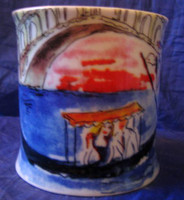 Whimsical Venice Gondola Couple Large Mug