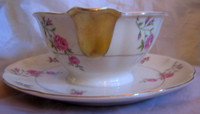 Shabby Chic Sweet Pink Rose Gold Trim Sauce Bowl Plate USA