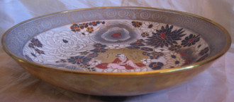 Grey Gold Red Mum Lotus Asian Figure Chinoiserie Bowl