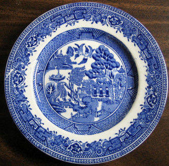 OLD Flow Blue White Chinoiserie Exotic Birds English Willow Plate www.DecorativeDishes.net
