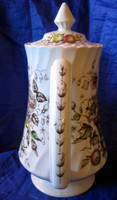 Lush Victorian Basket Motif Hand Colored Brown Transferware Lidded Pot - SHABBY
