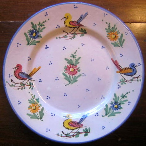Made In Italy 4 Bird Flower Pottery Hand Painted Blue Edge