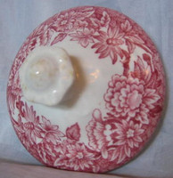 Red Pink Toile Transferware Daisy Cute Finial Small Lid