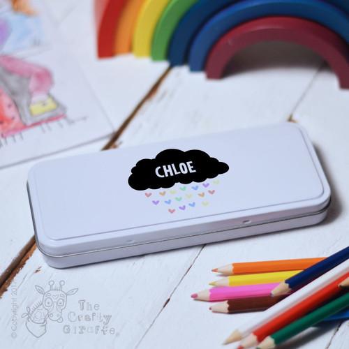 Personalised Black Cloud Pencil Tin