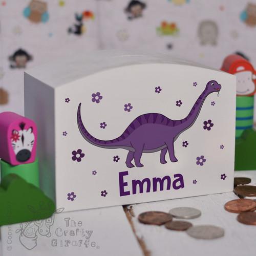 Personalised Purple Dinosaur Money Box