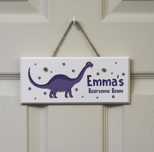 Personalised Purple Dinosaur Sign