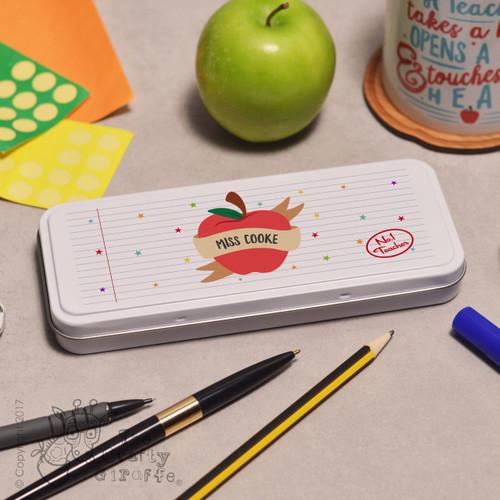 Personalised Apple Teacher Pencil Tin