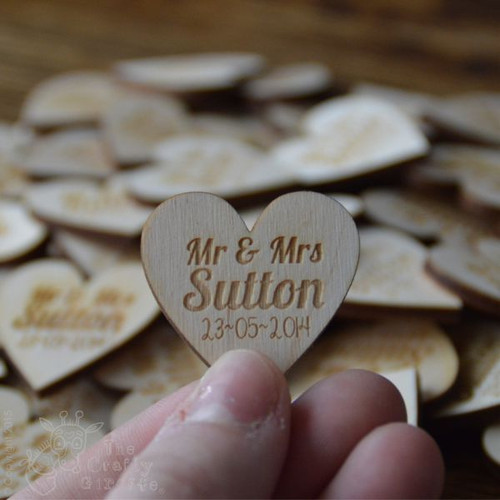 Personalised Heart Wedding Favours x 10