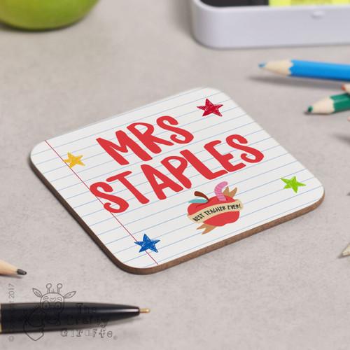 Personalised Teacher Name - Best teacher apple Coaster