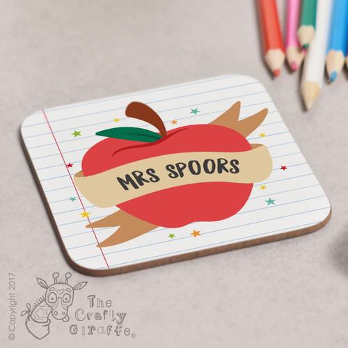 Personalised Apple Teacher Coaster