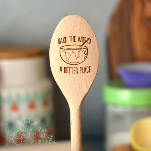 Personalised Bake the world a better place Spoon