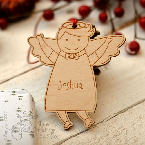 Personalised Angel Boy Decoration..