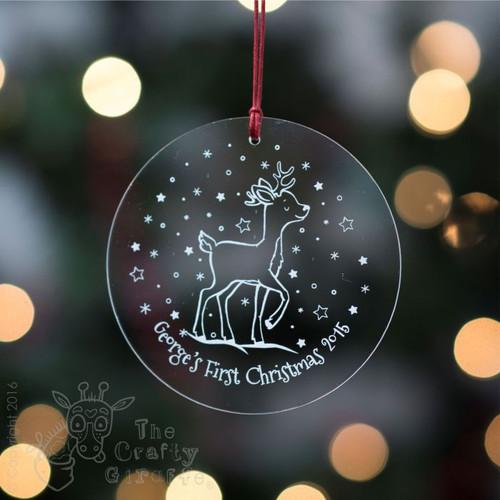 Personalised Starry Reindeer Bauble