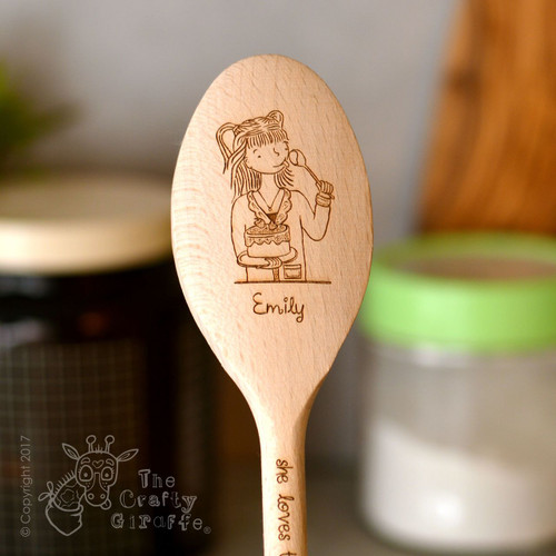 Personalised Character Wooden Spoon - Girl