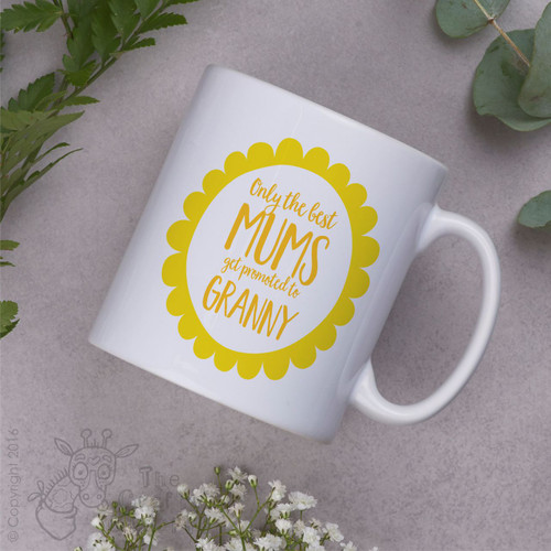 Personalised - Only the best mums get promoted to… Mug - Yellow flower
