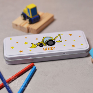 Personalised Digger Pencil Tin