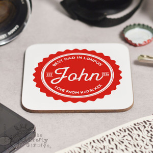 Personalised Best Dad Coaster
