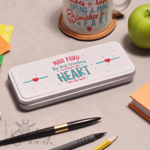 Personalised The best teachers teach from the heart Pencil Tin