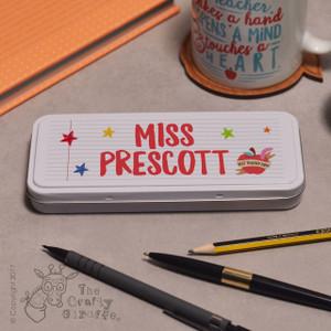 Personalised Teacher Name - Best teacher apple Pencil Tin