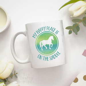 Personalised Mug - My happy place is on the saddle