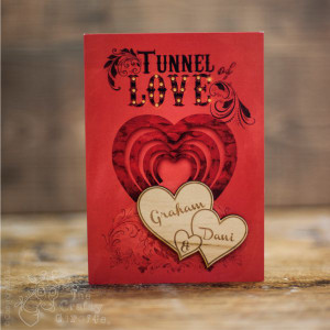 Personalised Tunnel of love Card Twin Heart Magnet