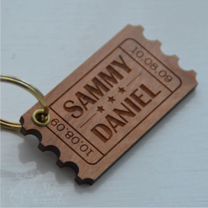 Personalised Ticket Keyring
