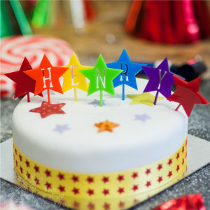 Personalised Rainbow Star Cake Topper