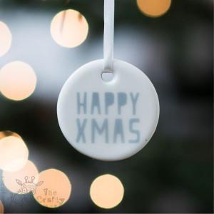 Happy Xmas - Ceramic Hanging Decoration
